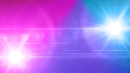 Luz del color con la llamarada de la lente. Rayas brillantes superposición sobre fondo oscuro. Foto de archivo