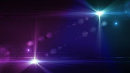 volume glow light: Beautiful color light with lens flare. Glowing streaks overlay on dark background. Stock Photo
