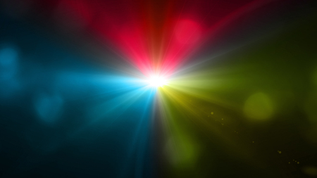 color light with lens flare. Glowing streaks overlay on dark background. Stock Photo - 77825050