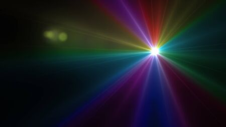 Beautiful color light with lens flare. Glowing streaks overlay on dark background. Stock Photo - 77769426