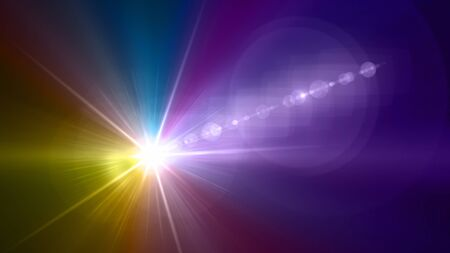 led lighting: Beautiful color light with lens flare. Glowing streaks overlay on dark background. Stock Photo