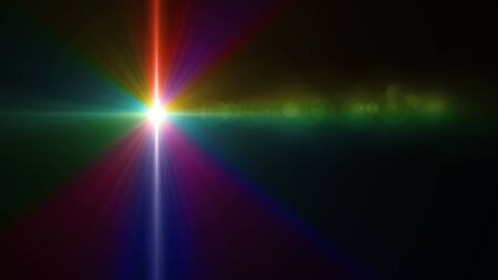Beautiful color light with lens flare. Glowing streaks overlay on dark background. Stock Photo - 77814555