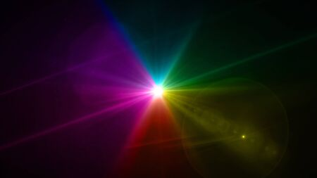 lightness: color light with lens flare. Glowing streaks overlay on dark background.