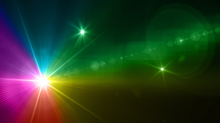Beautiful color light with lens flare. Glowing streaks overlay on dark background. Imagens