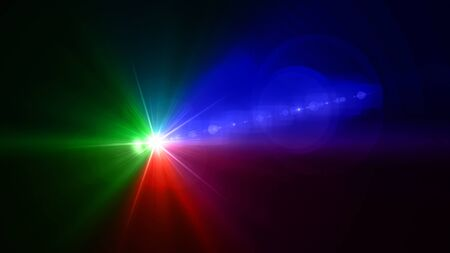 lightness: Beautiful color light with lens flare. Glowing streaks overlay on dark background. Stock Photo
