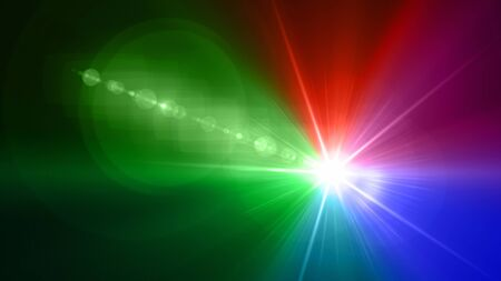 color light with lens flare. Glowing streaks overlay on dark background.