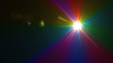 Beautiful color light with lens flare. Glowing streaks overlay on dark background. Stock Photo - 77814558