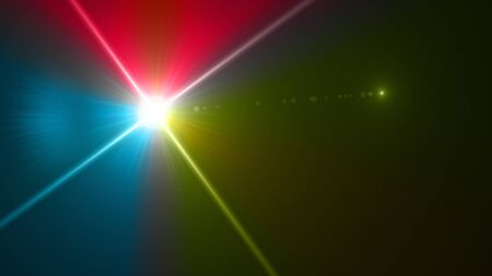 Beautiful color light with lens flare. Glowing streaks overlay on dark background. Stock Photo