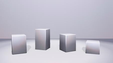 Metalen vierkanten staan voor vensterweergave door 3D-weergave Stockfoto - 88677359