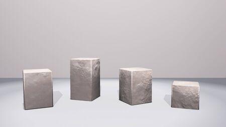Rotsvierkanten staan voor vensterweergave door 3D-weergave Stockfoto - 88677367