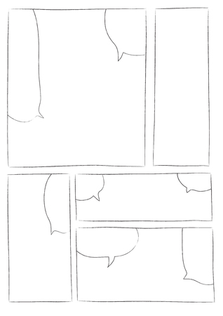 manga storyboard layout template for rapidly create the comic book style. A4 design of paper ratio is fit for print out. Vectores