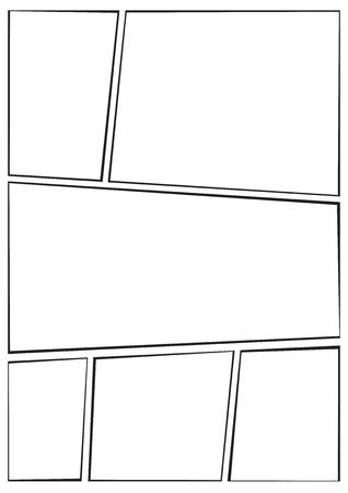 modello di layout storyboard manga per creare rapidamente lo stile dei fumetti. Il design A4 del rapporto carta è adatto per la stampa.