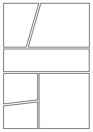 manga storyboard layout template for rapidly create the comic book style. A4 design of paper ratio is fit for print out. Ilustração
