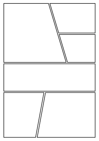 manga storyboard layout template for rapidly create the comic book style. A4 design of paper ratio is fit for print out. Иллюстрация