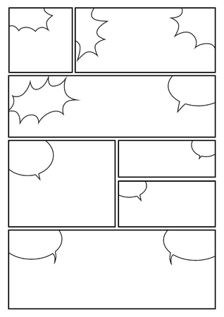 manga storyboard layout template for rapidly create the comic book style. A4 design of paper ratio is fit for print out. Illustration