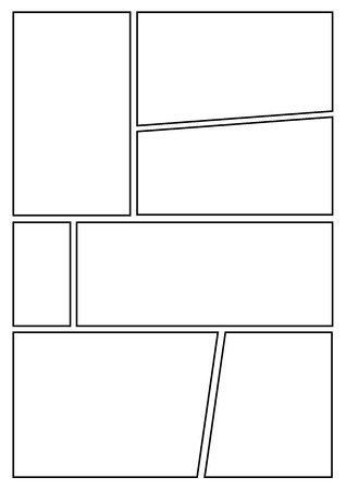 manga storyboard layout template for rapidly create the comic book style. A4 design of paper ratio is fit for print out. 일러스트