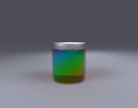 color Jar on cone front view by 3D rendering