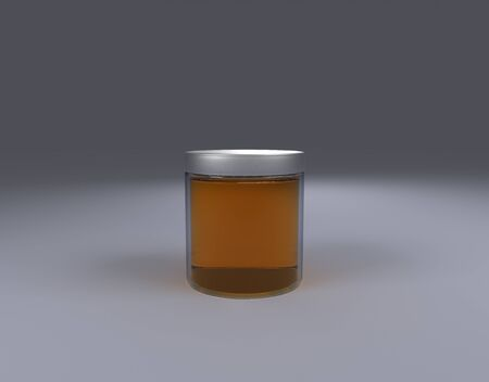 Glass honey Jar on cone front view by 3D rendering Reklamní fotografie