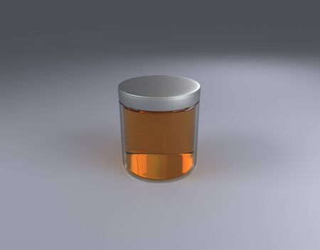 Glass honey Jar on cone by 3D rendering