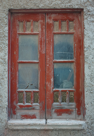 rustic old window in red wood