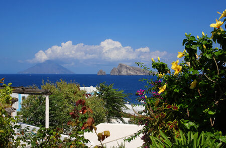 View of Stromboli from Panarea Stock Photo