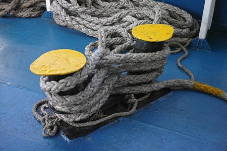 ship bollard and rope Stock Photo