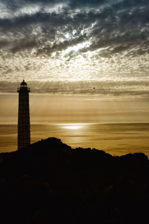 lighthouse silhouette and seagull with sunset Stock Photo