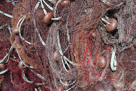 floats: fishing net with floats and rope