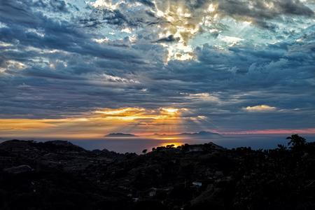 aeolian: sunset and clouds on aeolian islands