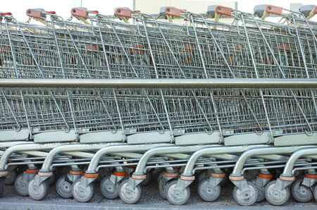 shopping carts lined up background