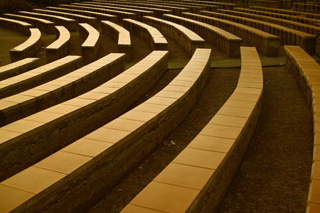 Arena seats arranged in semicircle , sepia tone perspective shot Stock Photo
