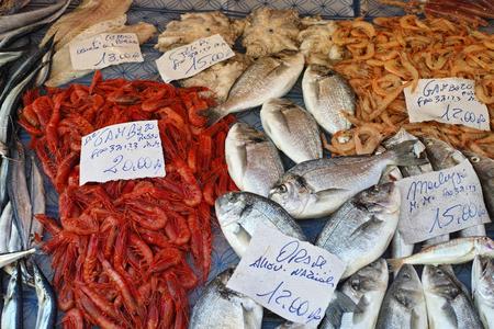 Mediterranean fish market with sale samples