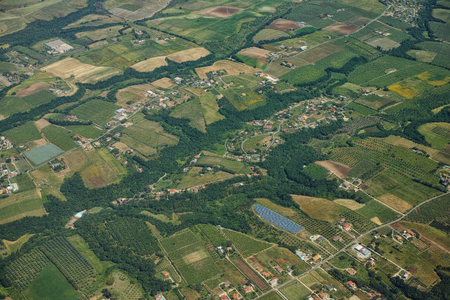 Tuscany countryside high definition airplane view Stock Photo