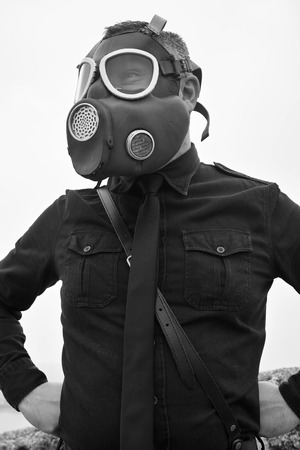 Old style black man with gas mask Stock Photo - 35001448