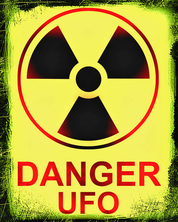 death s head: Stylized and Minimal Ufo Danger sign on ruined wall Stock Photo
