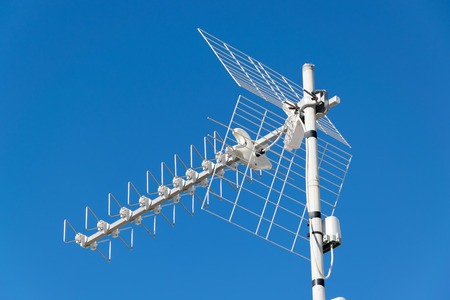 Digital signal Tv antenna under blue sky