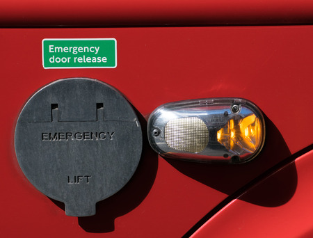 Emergency door release  with switch Stock Photo - 40286052