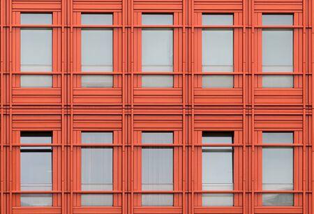 orange windows of a modern building