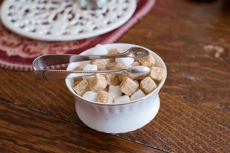 English sugar bowl with tongs