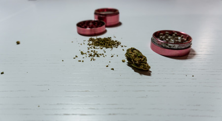 Medical marijuana buds  and grinder lies on a white background. Cannabis, harvest