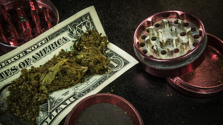 Marijuana buds lay on the one dollar bill. Drinder on the backdraund