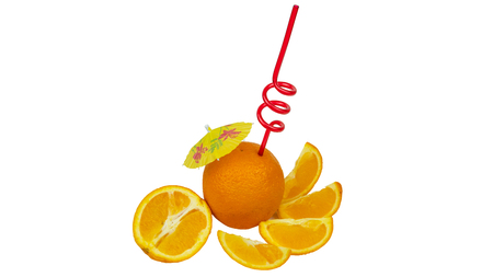 Fresh orange as a natural juice concept. Orange cocktail with tubule and umbrella. Isolated on white background Banco de Imagens