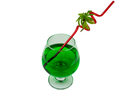 Concept of marijuana cocktail, drink containing thc or cbd. Concept of cannabis use in the food industry Banco de Imagens