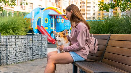 The young woman is sitting on the bench in the park with little dog. Corgi puppy is sitting in the park, nice summer day Stock fotó
