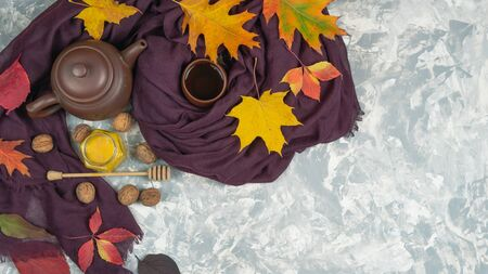 Flat lay autumn composition made of heat scarf autumn leaves, ash berry and tea with honey on pastel grey background, top view with copy space