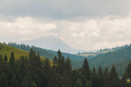 Amazing mountain landscape with varied weather, overcast sky, evening time. Bukovel Carpathians, Ukraine. Natural outdoor travel background.
