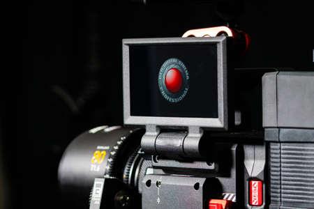 Kyiv, Ukraine - 04.17.2020: Studio shoot of professional 5k video camera Red DSMC2, close-up. Professional equipment for cinematographer, movie technology