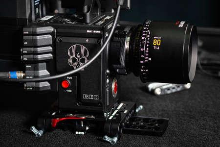 Kyiv, Ukraine - 04.17.2020: Studio shoot of professional 5k video camera Red DSMC2 with lens Leica Zerooptik Summilux-r 80, close-up. Professional equipment for cinematographer, movie technology Редакционное