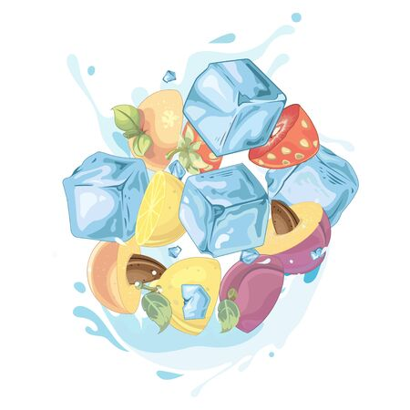Water fruits splash - illustration Imagens - 129017126