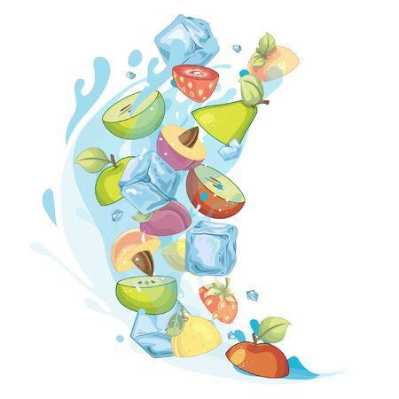 Water fruits splash - illustration Imagens - 129017142